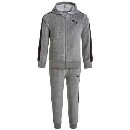 Puma Velour Hoodie and Pants Set (For Toddlers) in Charcoal Heather - Closeouts