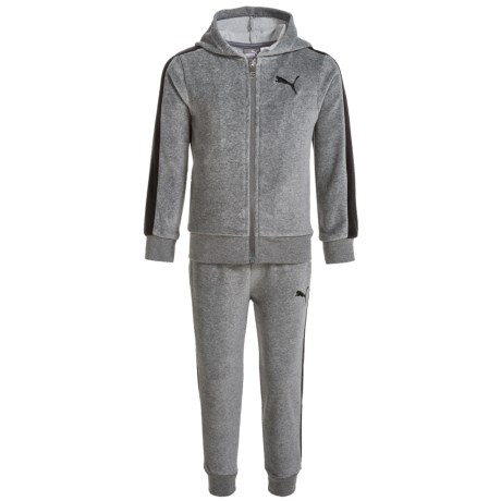 Puma Velour Hoodie and Pants Set (For Toddlers) in Charcoal Heather