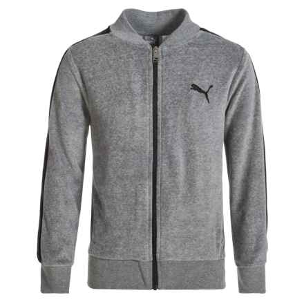 Puma Velour Jacket (For Big Boys) in Charcoal Heather - Closeouts