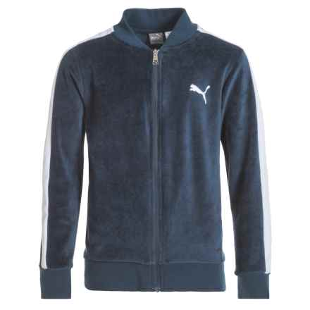 Puma Velour Jacket (For Big Boys) in Deep Navy/White - Closeouts