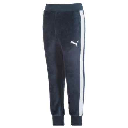 Puma Velour Joggers (For Big Boys) in Deep Navy/White - Closeouts