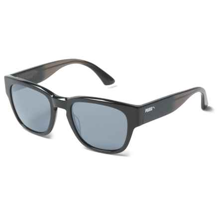 Puma Vintage Shape Sunglasses in Shiny Black/Grey/Silver - Overstock