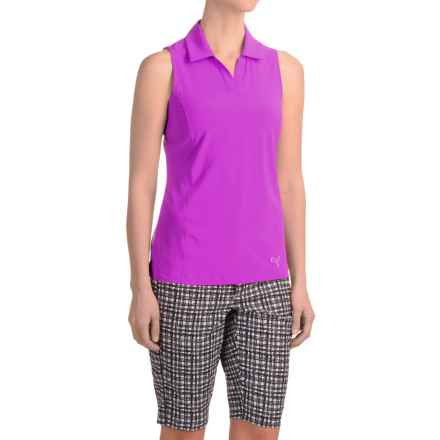 Puma Woven Block Polo Shirt - UPF 50+, Sleeveless (For Women) in Purple Cactus Flower - Closeouts