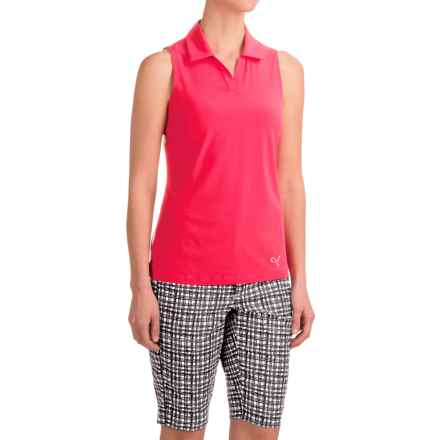 Puma Woven Block Polo Shirt - UPF 50+, Sleeveless (For Women) in Rose Red - Closeouts