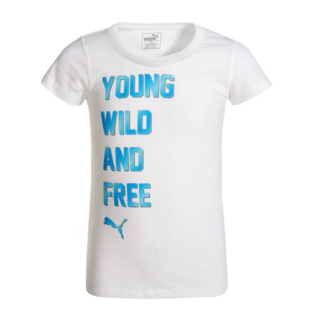 Puma Young Wild and Free T-Shirt - Short Sleeve (For Big Girls) in Puma White