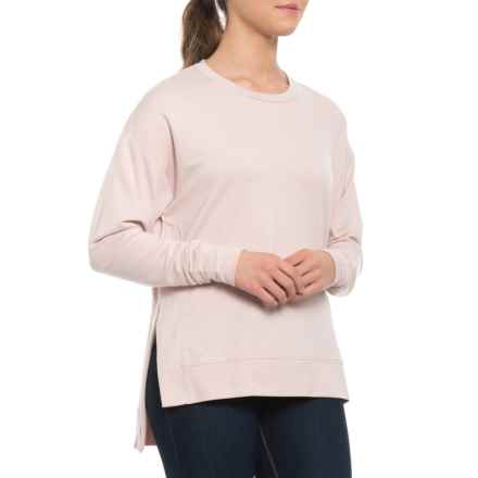 Pure & Simple French Terry Pullover Shirt with Side Slits - Crew Neck, Long Sleeve (For Women) in Blush Mix - Closeouts
