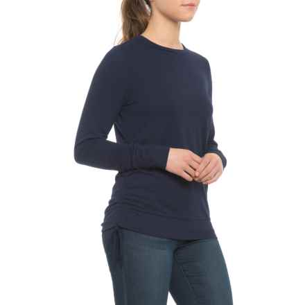 Pure & Simple French Terry Pullover Shirt with Side Tie - Long Sleeve (For Women) in Eclipse - Closeouts