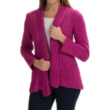 Pure Handknit Appealing Cotton Cardigan Sweater (For Women) in Exotic Pink - Closeouts