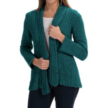 Pure Handknit Appealing Cotton Cardigan Sweater (For Women) in Luxury Jade - Closeouts