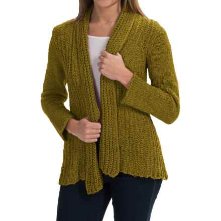 Pure Handknit Appealing Cotton Cardigan Sweater (For Women) in Rich Moss - Closeouts
