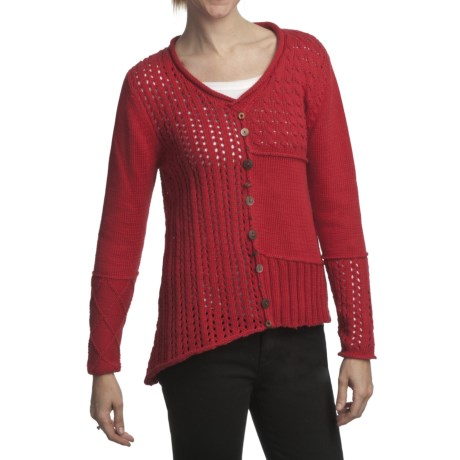 Pure Handknit Ardon Patchwork Pullover (For Women) in Red