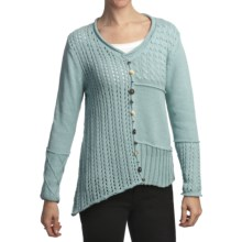 Pure Handknit Ardon Patchwork Pullover (For Women) in Siberian Ice - Closeouts