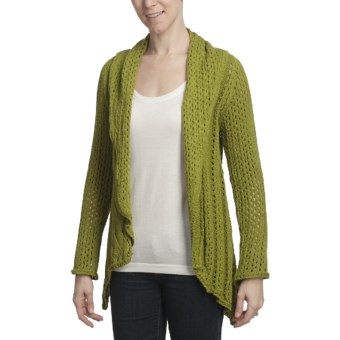 Pure Handknit Asha Cocoon Cardigan Sweater - Open Front (For Women) in Calabria Olive