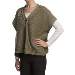 Pure Handknit Bella Cotton Knit Poncho (For Women) in Olive