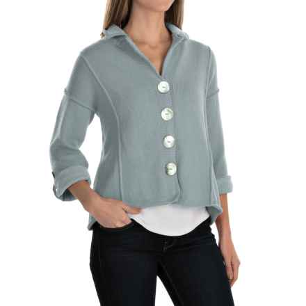 Pure Handknit Blue Moon Cardigan Sweater - 3/4 Sleeve (For Women) in Touch Of Grey - Closeouts