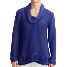 Pure Handknit Bold Fringe Sweater - Cowl Neck (For Women) in Deep Royal - Closeouts