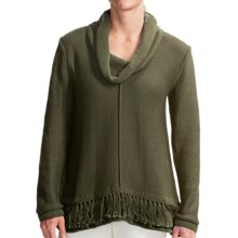 Pure Handknit Bold Fringe Sweater - Cowl Neck (For Women) in Hudson Moss - Closeouts