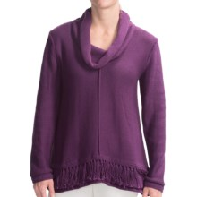 Pure Handknit Bold Fringe Sweater - Cowl Neck (For Women) in Summer Plum - Closeouts