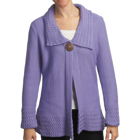 Pure Handknit Bronx One-Button Tunic Cardigan Sweater (For Women) in Mod Lilac