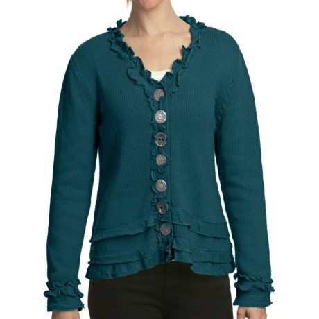Pure Handknit Brooklyn Ruffle Cardigan Sweater (For Women) in Granby Teal