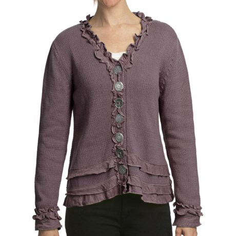 Pure Handknit Brooklyn Ruffle Cardigan Sweater (For Women) in Modern Orchid