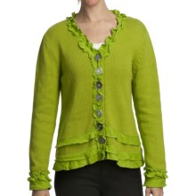 Pure Handknit Brooklyn Ruffle Cardigan Sweater (For Women) in Urban Green - Closeouts