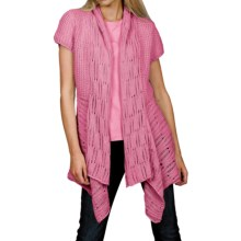 Pure Handknit Chamonix Cardigan Sweater - Short Sleeve (For Women) in Sweet Pea Pink - Closeouts