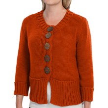 Pure Handknit Coast Cotton Cardigan Sweater - Double Knit, 3/4 Sleeve (For Women) in Eco Orange - Closeouts