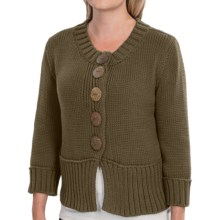 Pure Handknit Coast Cotton Cardigan Sweater - Double Knit, 3/4 Sleeve (For Women) in Hollywood Night - Closeouts