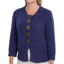 Pure Handknit Coast Cotton Cardigan Sweater - Double Knit, 3/4 Sleeve (For Women) in Royal Jewel - Closeouts