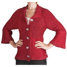 Pure Handknit Cosmic Crush Sweater - 3/4 Bell Sleeve (For Women) in Red - Closeouts