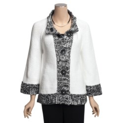 Pure Handknit Cotton Cardigan Sweater - Marled Trim, 3/4 Sleeve (For Women) in White
