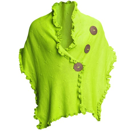 Pure Handknit Cotton Wrap - Love Me, Love Me Not (For Women) in Funky Lime