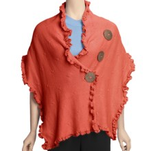 Pure Handknit Cotton Wrap - Love Me, Love Me Not (For Women) in Pop Orange - Closeouts