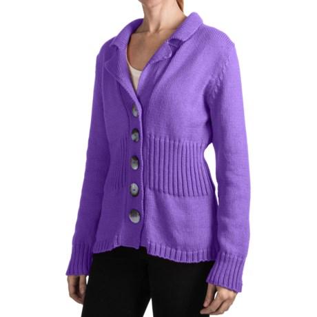 Pure Handknit Earth Blazer Sweater (For Women) in Sassy Purple