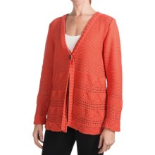 Pure Handknit Earth Cardigan Sweater - One-Button (For Women) in Pop Orange - Closeouts