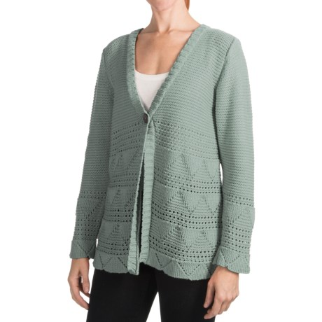 Pure Handknit Earth Cardigan Sweater - One-Button (For Women) in Village Sage