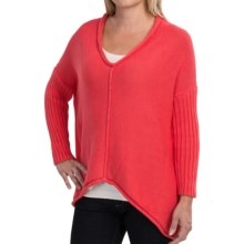 Pure Handknit Fairway Sweater - V-Neck, 3/4 Sleeve (For Women) in Spicy Coral - Closeouts