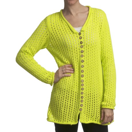 Pure Handknit Fernie Pointelle Tunic Sweater (For Women) in Lucky Yellow