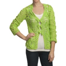 Pure Handknit Kata Cardigan Sweater - Tie Front (For Women) in Funky Lime - Closeouts