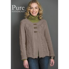 Pure Handknit Katy Cardigan Sweater - Cotton (For Women) in Baja Pebble - Closeouts