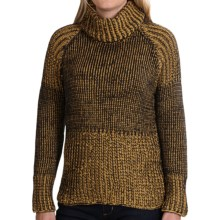 Pure Handknit Luxury Cotton Turtleneck - Long Sleeve (For Women) in Mustard Seed - Closeouts
