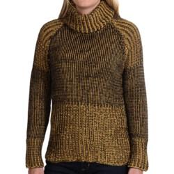 Pure Handknit Luxury Cotton Turtleneck - Long Sleeve (For Women) in Mustard Seed