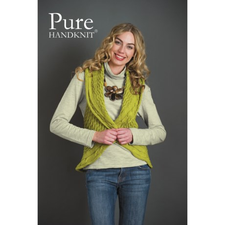 Pure Handknit Marni Crochet Cocoon Sweater Vest (For Women) in Swinging Green