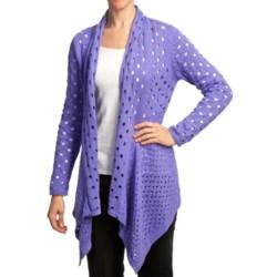 Pure Handknit Meyers Open-Knit Cardigan Sweater (For Women) in Funky Lime