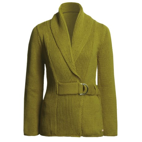 Pure Handknit Milan Belted Cardigan Sweater - Exaggerated Shawl Collar (For Women) in Olive
