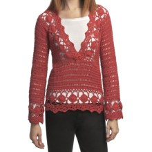 Pure Handknit Neya Crochet Pullover (For Women) in Daytripper Red - Closeouts
