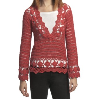 Pure Handknit Neya Crochet Pullover (For Women) in Daytripper Red