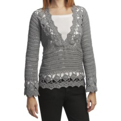 Pure Handknit Neya Crochet Pullover (For Women) in Tuesday Afternoon Grey