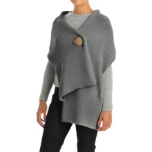Pure Handknit Original Button Wrap - Cotton (For Women) in Touch Of Grey - Closeouts